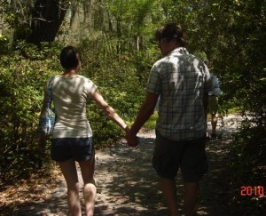 My Valentine and I walking through the gardens at Magnolia Plantation.