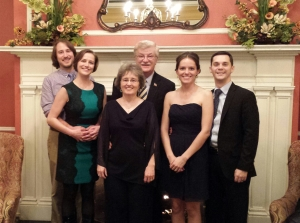 "Hubs, me, parents, sister, and brother-in-law at my ""other sister's"" wedding in MI."