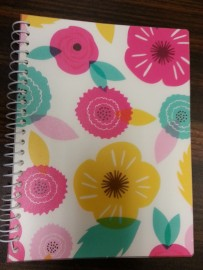 I couldn't find an ocean-themed notebook, so I went for the spring theme.
